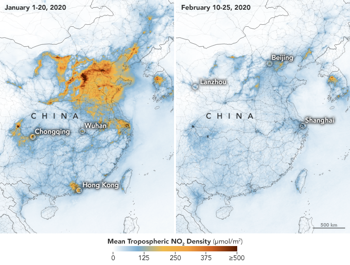 Map by NASA showing a drop in nitrogen dioxide over China in February 2020.